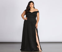 Floor Length Short Off the Shoulder Slit Pocketed Sweetheart Dress