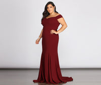 Plus Size Crepe Princess Seams Waistline Mermaid 2019 Back Zipper Off the Shoulder Sweetheart Evening Dress