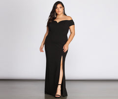 Plus Oriana Off-Shoulder Gown