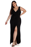 Plus Size V-neck Slit Wrap Ruched Knit Floor Length Plunging Neck Dress