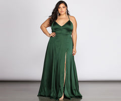 Plus Vera Satin Lace Up Formal Dress