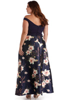 Pocketed Fitted Stretchy Back Zipper Taffeta Sweetheart Off the Shoulder Floral Print Short Dress