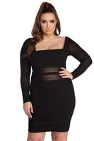 Mesh Back Zipper Illusion Fitted Crepe Long Sleeves Short Square Neck Dress