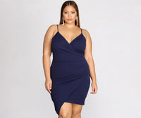 Plus Size V-neck Crepe Short Ruched Wrap Spaghetti Strap Bridesmaid Dress/Wedding Dress