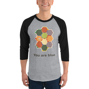 Hexagonal Anxiety 3/4 sleeve raglan shirt