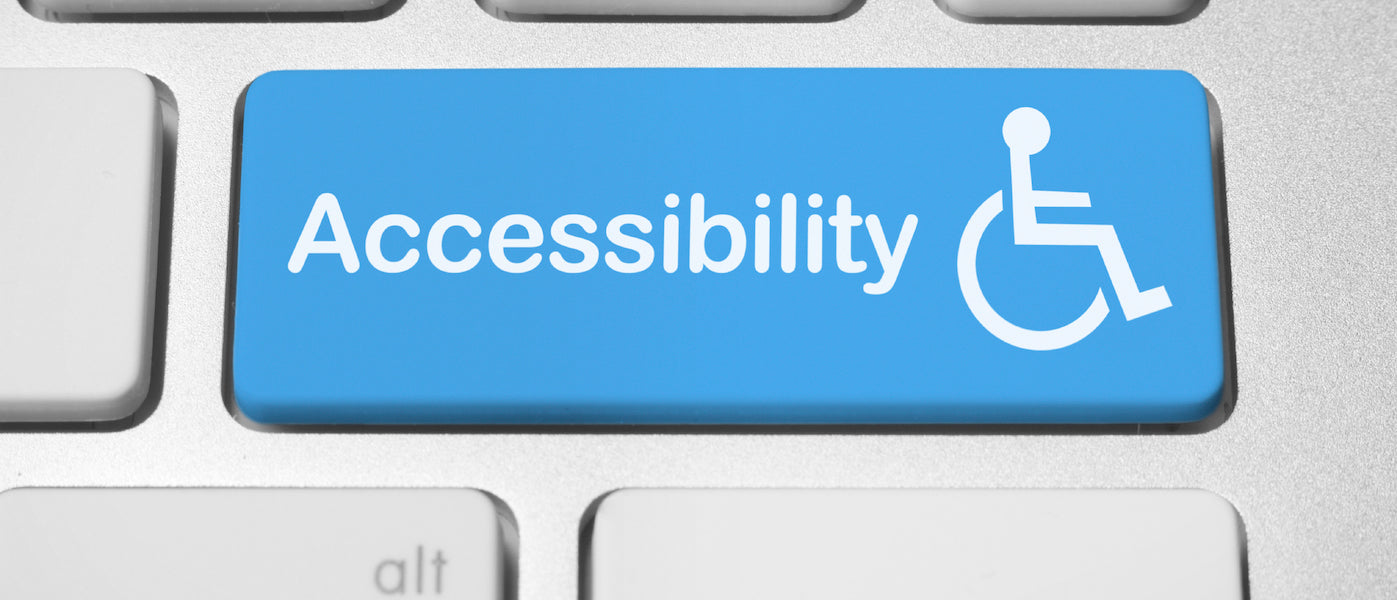Image depicts a computer keyboard with the word Accessibility on a blue key