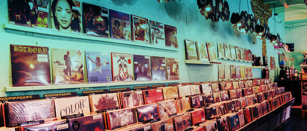 Inside Sweat Records, hundreds of artistic vinyl record packages line the walls and bins for music lovers to browse, while the shop itself is full of eclectic figurines and decor