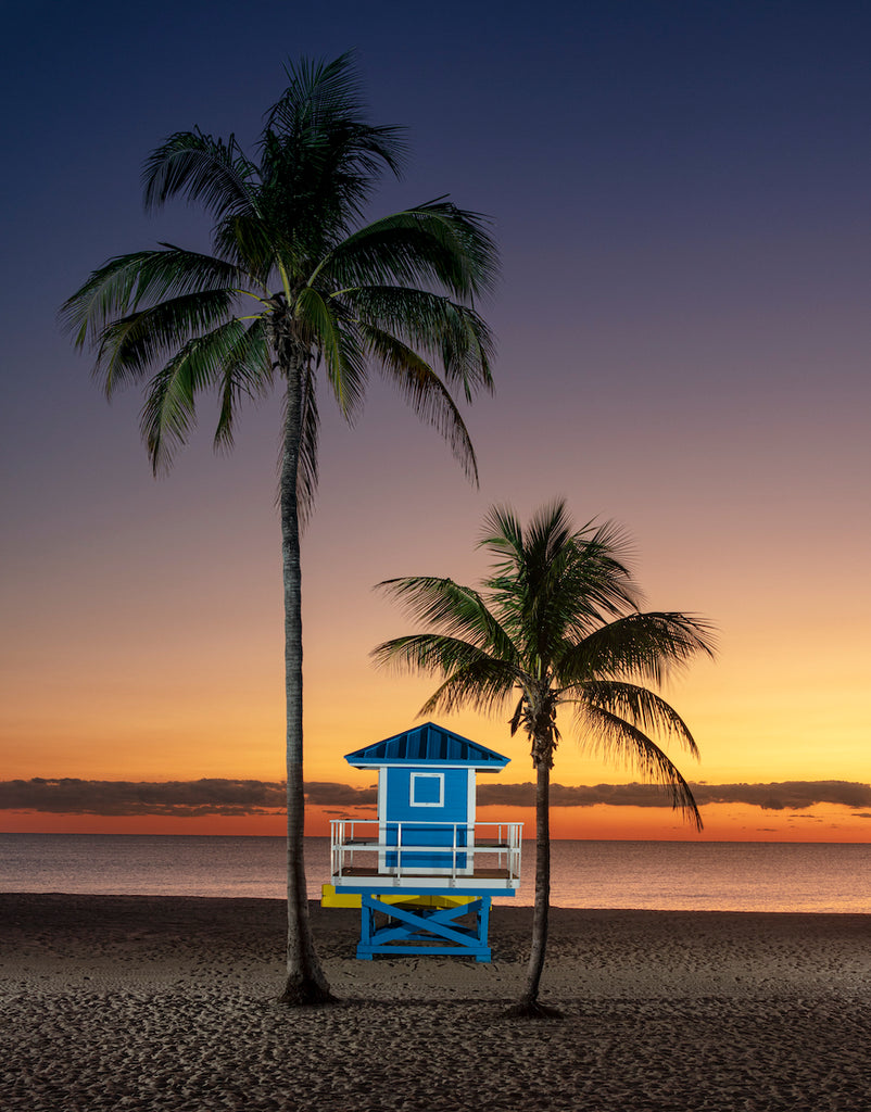 "Mike Butler Photography ""Palm Trees and Lifeguard Stand at Dawn"" Photo"
