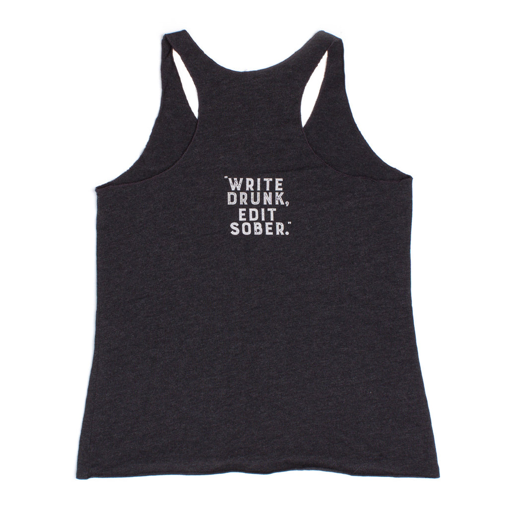 "The Perry Hotel Ladies Black Racer Back ""Write Drunk, Edit Sober"" Tank Top"