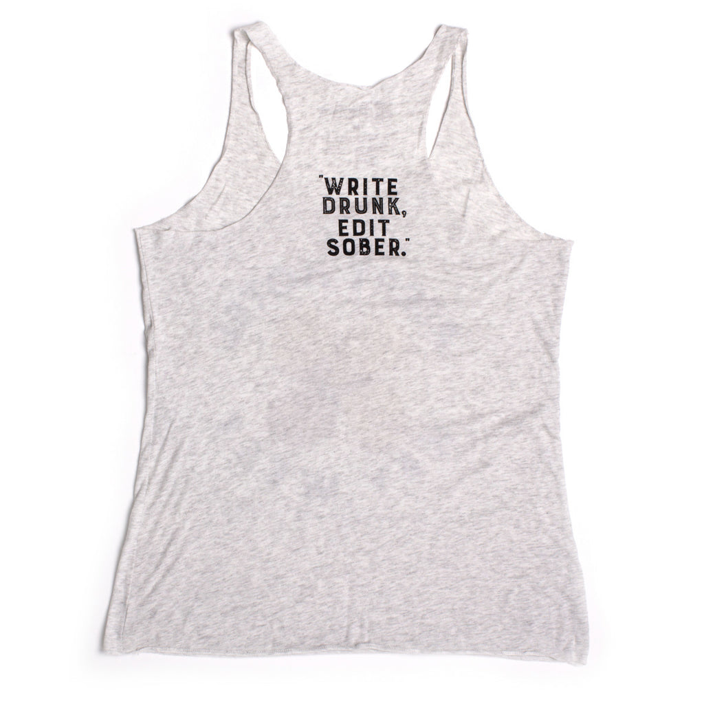 "The Perry Hotel Ladies White Racer Back ""Write Drunk, Edit Sober"" Tank Top"