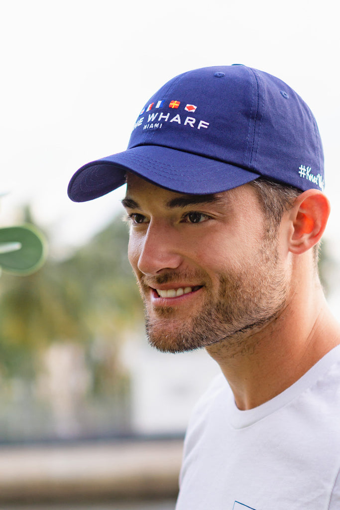 The Wharf Miami Navy Blue Strapback Baseball Cap