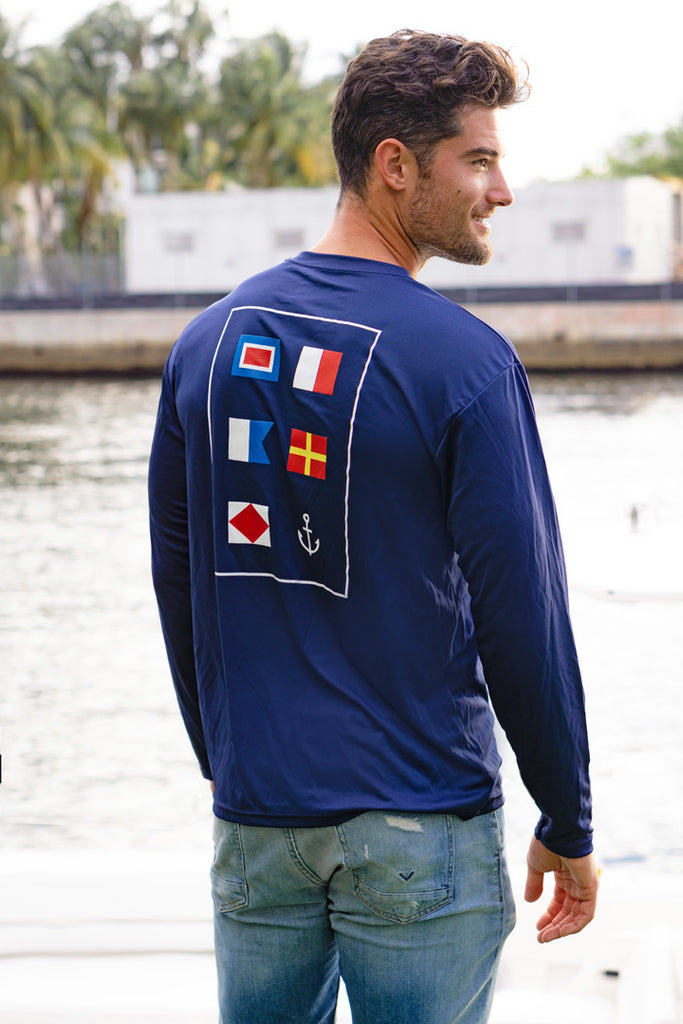 The Wharf Miami Men's Dri-Fit Long Sleeve Nautical Flags T-Shirt