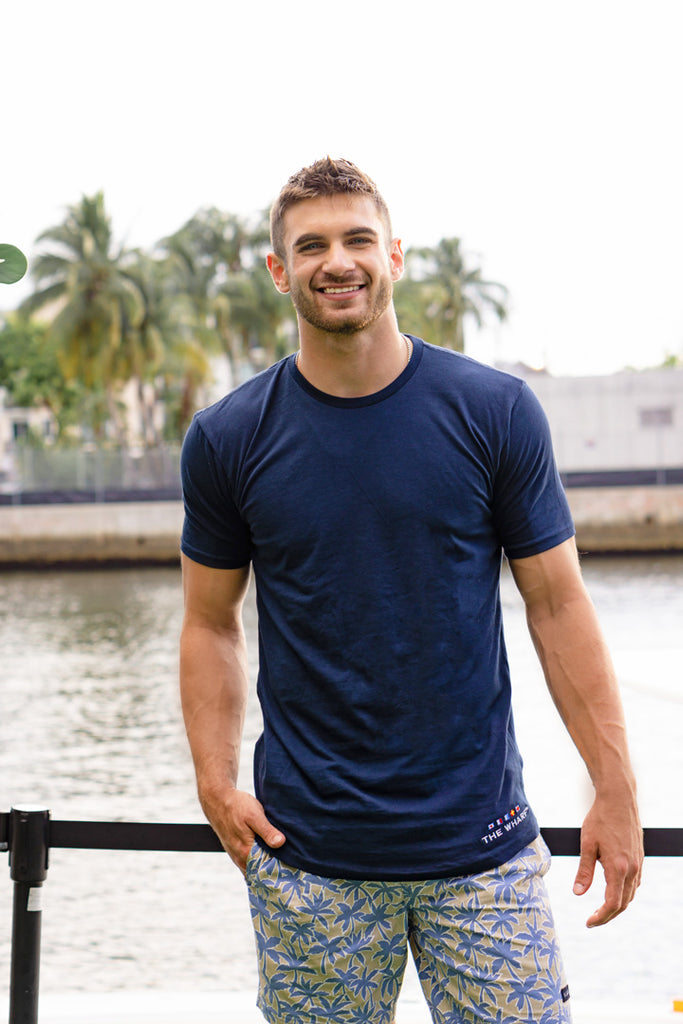 The Wharf Miami Mens Blue Short Sleeve Hem Scoop Tshirt