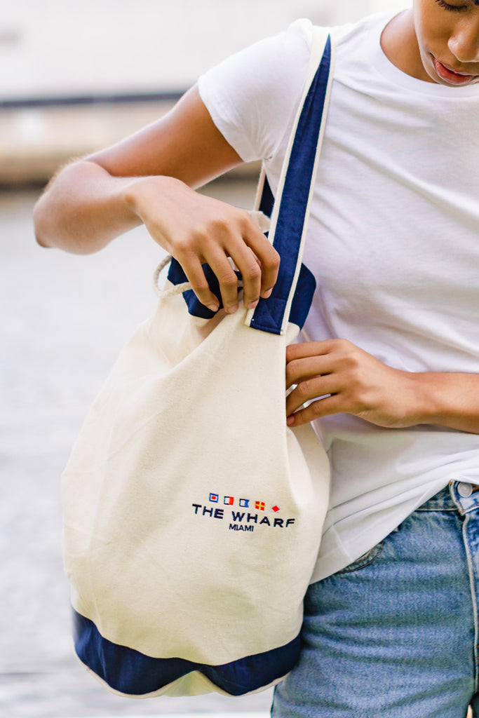 The Wharf Miami White Canvas Tote Bag