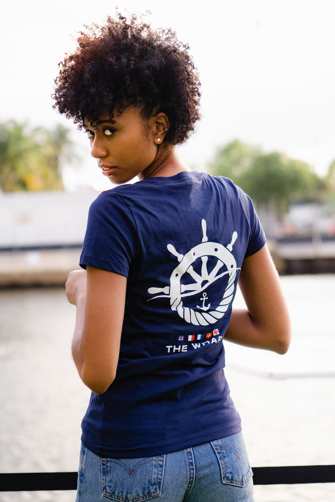 The Wharf Miami Women's Blue Short Sleeve Anchor V-Neck TShirt