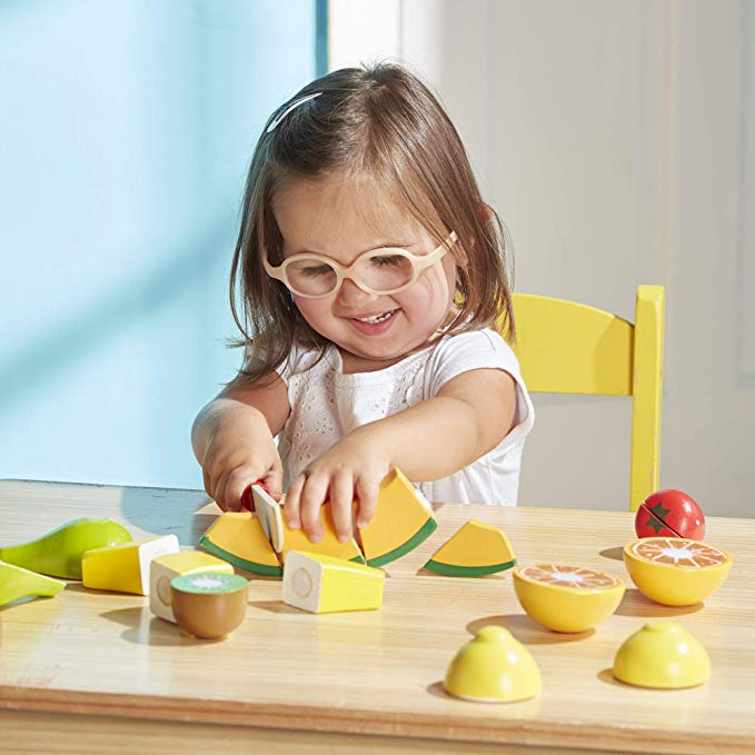 Melissa & Doug Cutting Fruit Set - Wooden Play Food Kitchen Accessory - The Tiny Toy Store