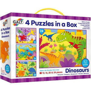 Fun set of 4 first puzzles featuring dinosaur scenes with a different number of pieces to encourage the development of matching and sorting skills. The two sets of colourful puzzles featuring farm animals and vehicles have 4, 6, 8 and 12 pieces. Two new sets featuring fun fairy and dinosaur scenes have 12, 16, 20 and 24 pieces.