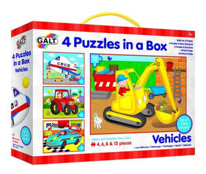 4 Puzzles in a Box, jigsaw, puzzle, Vehicles, Galt, The Tiny Toy Store, car jigsaw puzzles, tractor jigsaw puzzles, digger jigsaw puzzles, aeroplane Jigsaw Puzzle