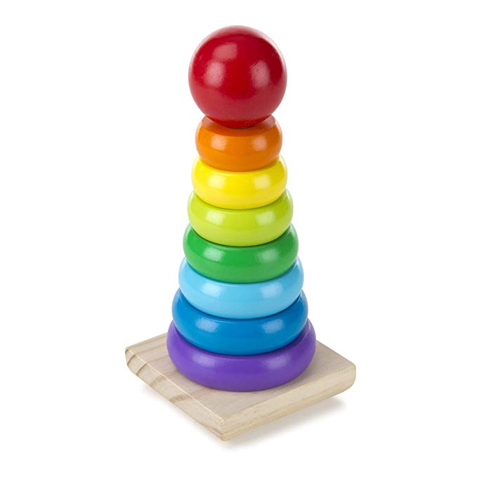 Melissa & Doug Rainbow Stacker Wooden Ring Educational Toy - The Tiny Toy Store
