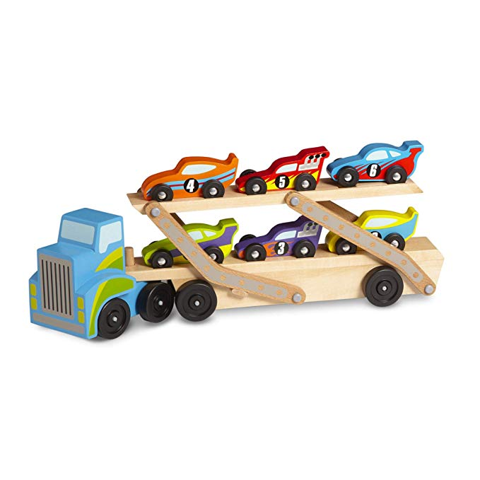 Melissa & Doug Mega Race-Car Carrier - Wooden Tractor and Trailer With 6 Unique Race Cars - The Tiny Toy Store