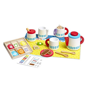 Melissa & Doug 22-Piece Steep and Serve Wooden Tea Set - Play Food and Kitchen Accessories - The Tiny Toy Store