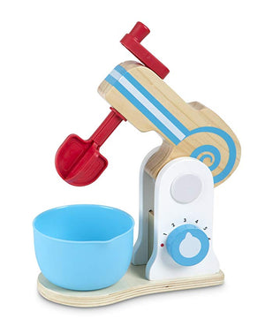Melissa & Doug Wooden Make-a-Cake Mixer Set (11 pcs) - Play Food and Kitchen Accessories - The Tiny Toy Store