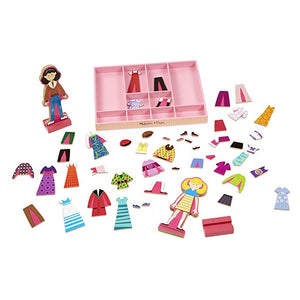 Melissa & Doug Abby and Emma Deluxe Magnetic Wooden Dress-Up Dolls Play Set (55+ pcs) - The Tiny Toy Store