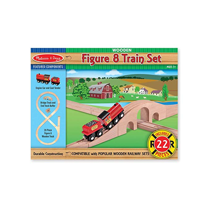 Melissa & Doug Classic Wooden Figure Eight Train Set (22 pcs) - The Tiny Toy Store