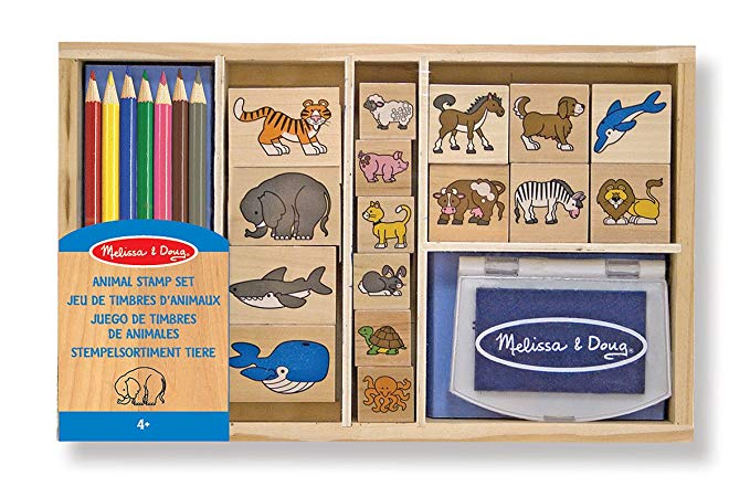 Melissa & Doug Wooden Stamp Set: Animals - 16 Stamps, 7 coloured Pencils, Stamp Pad - The Tiny Toy Store