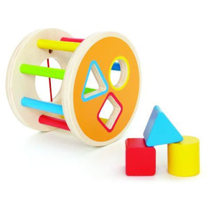 1-2-3 Shape Sorter, wooden toy, baby toys, shapes, the tiny toy store, wooden shapes, Hape