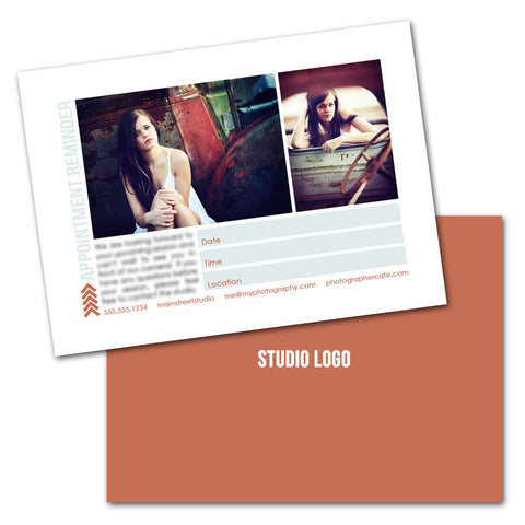 photography session appointment reminder card photoshop templates