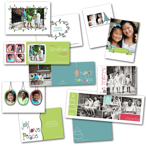 Holiday Christmas card set for families and photographers