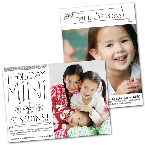 fall mini sessions, holiday mini sessions marketing board templates