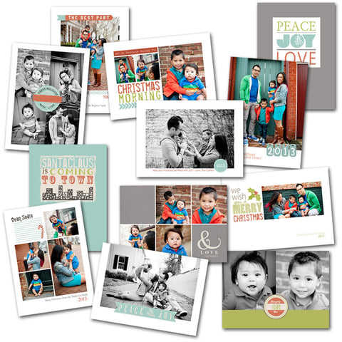 modern Christmas card templates for press printed cards