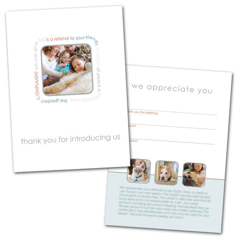 Referral thank you card design