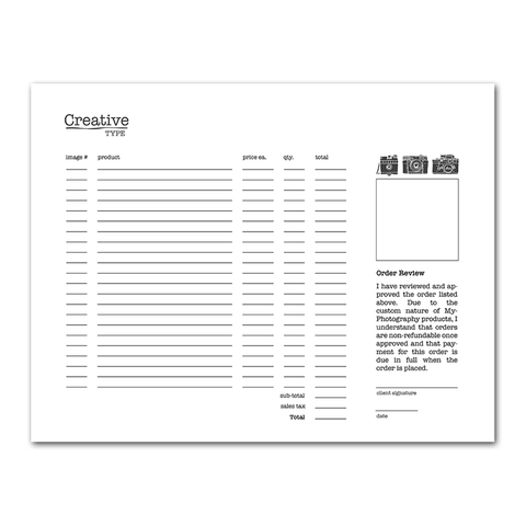 order form photoshop templates for photographers
