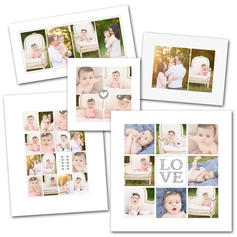 valentines and newborn collage photoshop templates for photographers