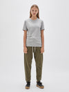 bassike wide heritage slim short sleeve t.shirt in grey marl
