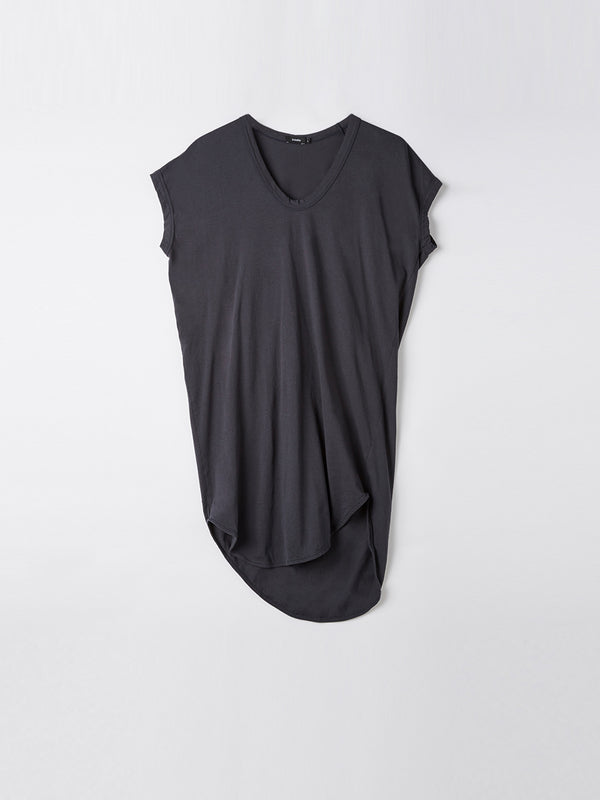 bassike boxy t.shirt dress with tail ll in washed navy