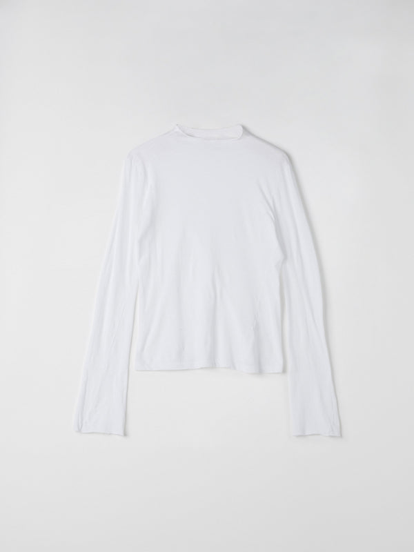 bassike raised neck slim long sleeve t.shirt in white