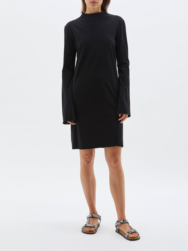 bassike raised neck slim long sleeve dress in black