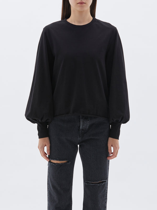 bassike 240 jersey voluminous sleeve top in black