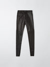 bassike flat front leather pant in black
