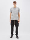 bassike original button pocket t.shirt in grey marl