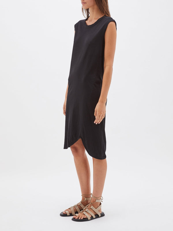 bassike fitted muscle tank dress in black
