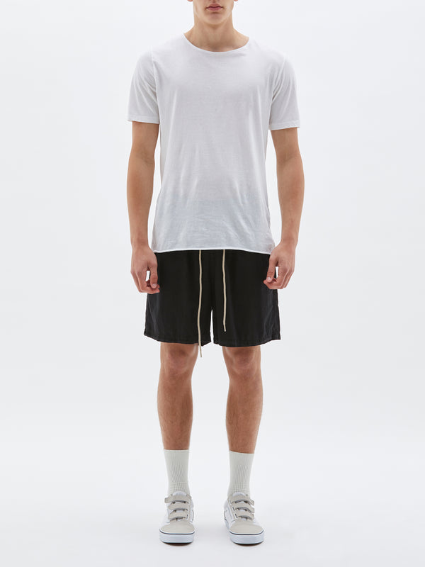 bassike twill classic beach short in black