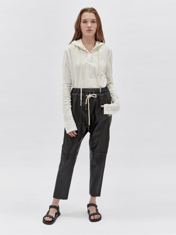 bassike relaxed leather pant ll in black