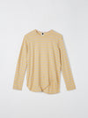 bassike heritage scoop hem long sleeve t.shirt in barley-light-taupe