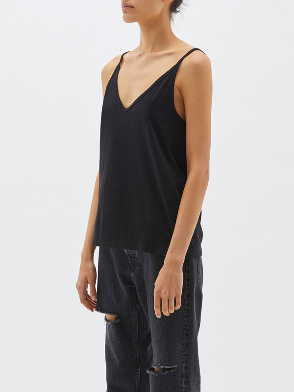 bassike v neck slouch tank in black