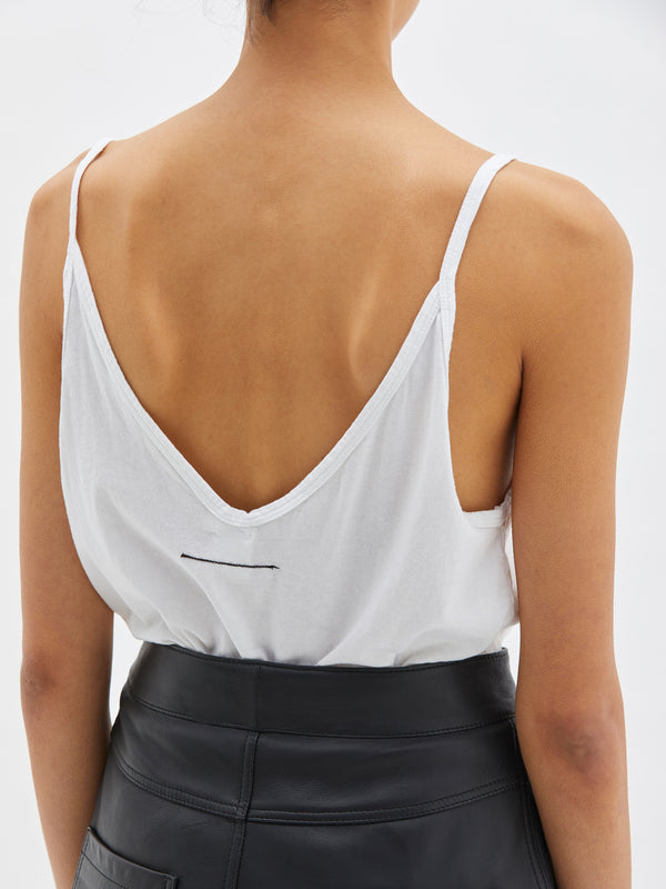 bassike v neck slouch tank in white